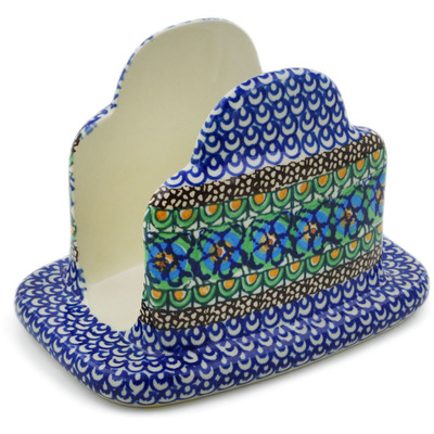"Polish Pottery Napkin Holder 7"" Mardi Gra UNIKAT"