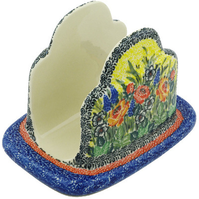 "Polish Pottery Napkin Holder 7"" Splendid Morning Glow UNIKAT"