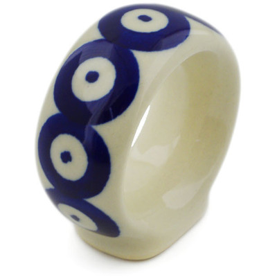"Polish Pottery Napkin Ring 2"" Blue Eyed Peacock"