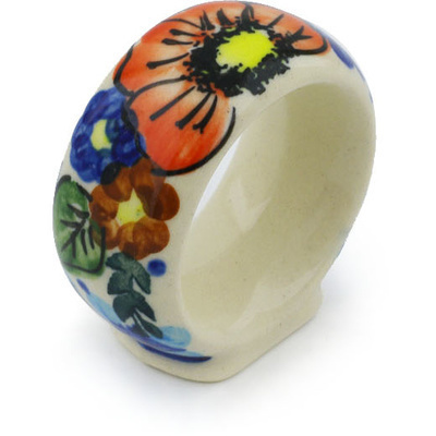 "Polish Pottery Napkin Ring 2"" Bold Poppies UNIKAT"