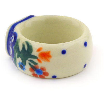 "Polish Pottery Napkin Ring 2"" Spring Flowers"