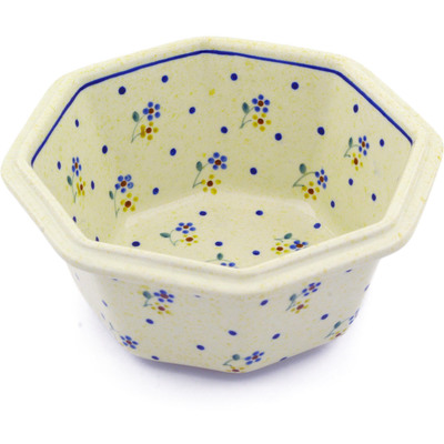 "Polish Pottery Octagonal Bowl 7"" Country Meadow"