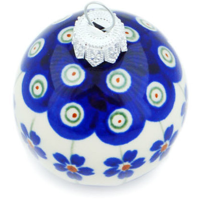 "Polish Pottery Ornament Christmas Ball 2"" Flowering Peacock"
