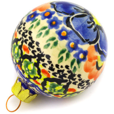 "Polish Pottery Ornament Christmas Ball 3"" Aztec Flowers UNIKAT"