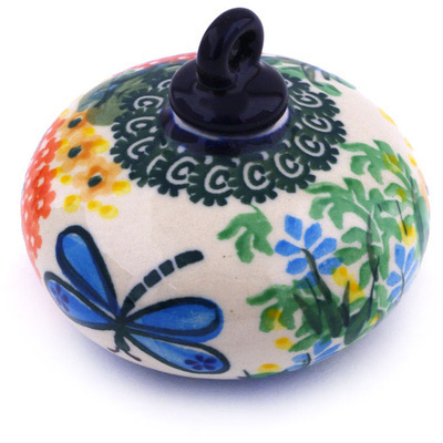 "Polish Pottery Ornament Christmas Ball 3"" Garden Delight UNIKAT"