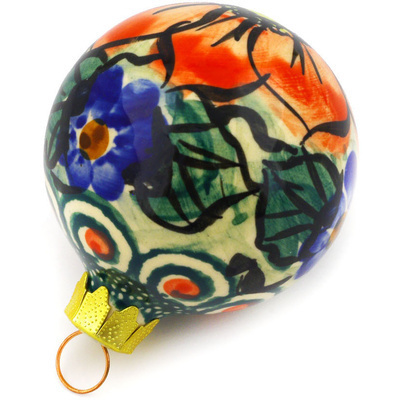 "Polish Pottery Ornament Christmas Ball 3"" Havana UNIKAT"