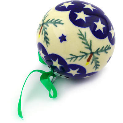 "Polish Pottery Ornament Christmas Ball 3"" Holly Stars"
