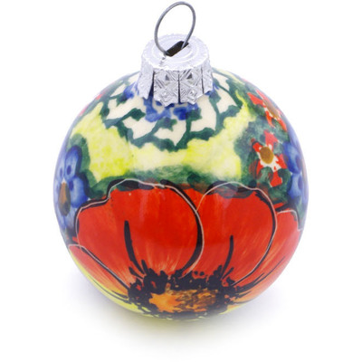 "Polish Pottery Ornament Christmas Ball 3"" Mystical Garden UNIKAT"