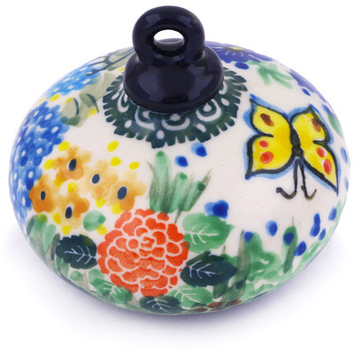"Polish Pottery Ornament Christmas Ball 3"" Spring Garden UNIKAT"