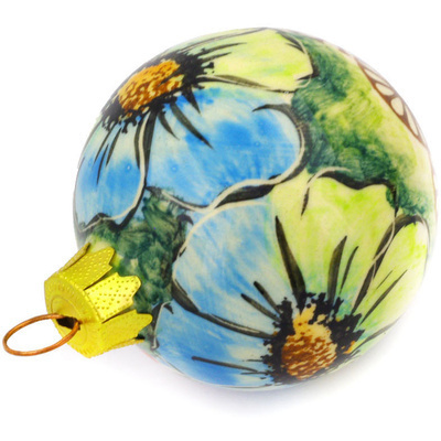 "Polish Pottery Ornament Christmas Ball 3"" Sweet Emotions UNIKAT"