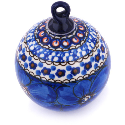 "Polish Pottery Ornament Christmas Ball 4"" Cobalt Poppies UNIKAT"