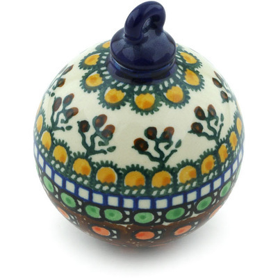 "Polish Pottery Ornament Christmas Ball 4"" Cranberry Medley UNIKAT"