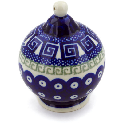 "Polish Pottery Ornament Christmas Ball 4"" Grecian Peacock"