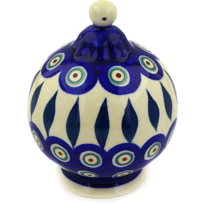 "Polish Pottery Ornament Christmas Ball 4"" Peacock Leaves"