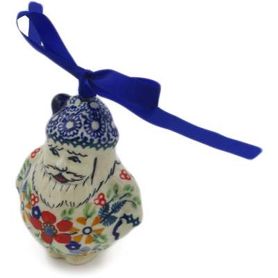 "Polish Pottery Ornament Christmas Ball 4"" Ruby Bouquet UNIKAT"