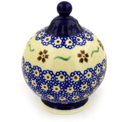 "Polish Pottery Ornament Christmas Ball 4"" Sweet Red Flower"
