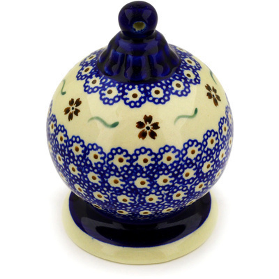 "Polish Pottery Ornament Christmas Ball 5"" Sweet Red Flower"