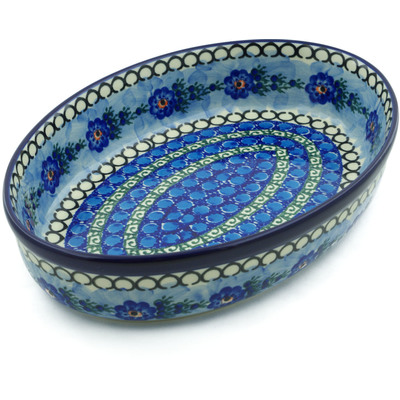 "Polish Pottery Oval Baker 12"" Blue Delight UNIKAT"