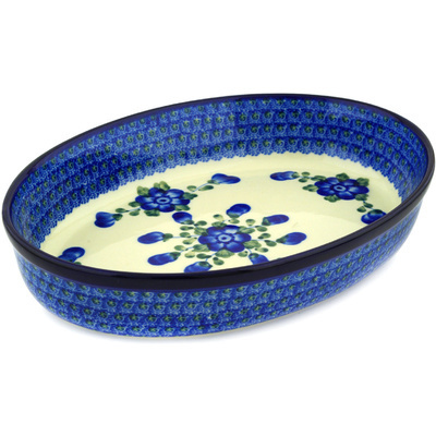 "Polish Pottery Oval Baker 12"" Blue Poppies"