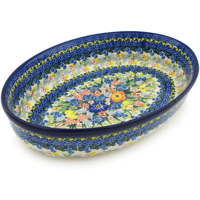 "Polish Pottery Oval Baker 12"" Brilliant Blue UNIKAT"