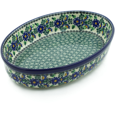 "Polish Pottery Oval Baker 12"" Emerald Dots And Daffodi UNIKAT"