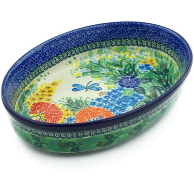 "Polish Pottery Oval Baker 12"" Garden Delight UNIKAT"