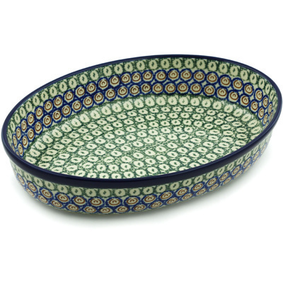 "Polish Pottery Oval Baker 12"" Green Apple"