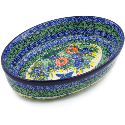 "Polish Pottery Oval Baker 12"" Monarch Bouquet UNIKAT"