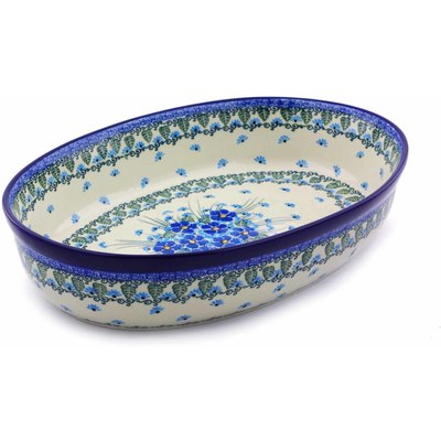 "Polish Pottery Oval Baker 14"" Forget Me Not"