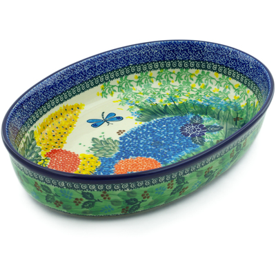 "Polish Pottery Oval Baker 14"" Garden Delight UNIKAT"