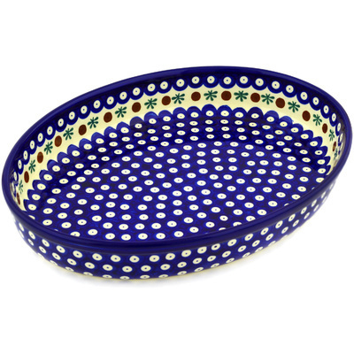 "Polish Pottery Oval Baker 14"" Mosquito"