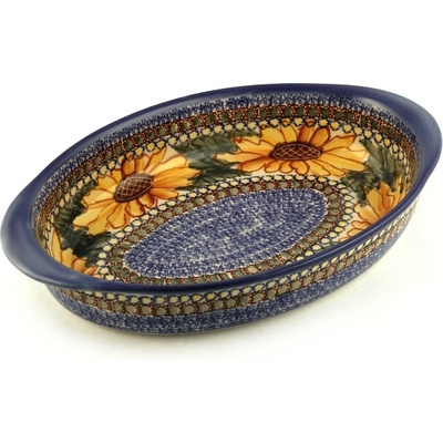 Polish Pottery Oval Baker with Handles 12""