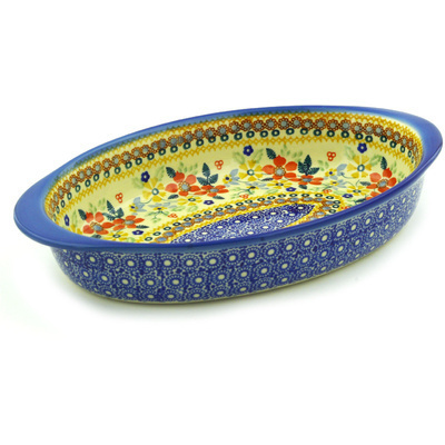 "Polish Pottery Oval Baker with Handles 12"" Summer Bouquet UNIKAT"