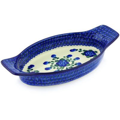 "Polish Pottery Oval Baker with Handles 13"" Blue Poppies"