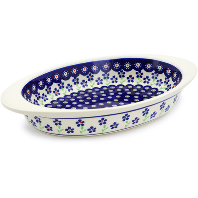 "Polish Pottery Oval Baker with Handles 13"" Bright Peacock Daisy"