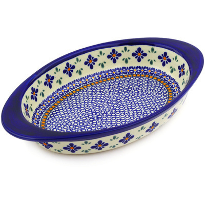 "Polish Pottery Oval Baker with Handles 13"" Gangham Flower Chain"
