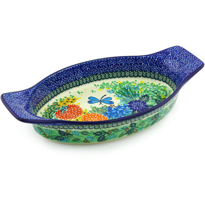 "Polish Pottery Oval Baker with Handles 13"" Garden Delight UNIKAT"