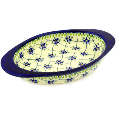 "Polish Pottery Oval Baker with Handles 14"" Gingham Trellis"