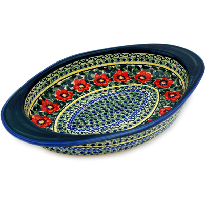 "Polish Pottery Oval Baker with Handles 14"" Poppies All Around UNIKAT"