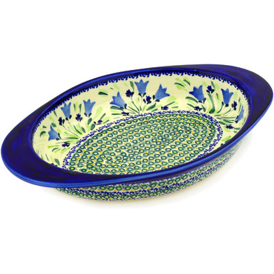 "Polish Pottery Oval Baker with Handles 14"" Tulip Fields UNIKAT"