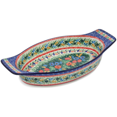 "Polish Pottery Oval Baker with Handles 18"" Sweet Sentimental UNIKAT"