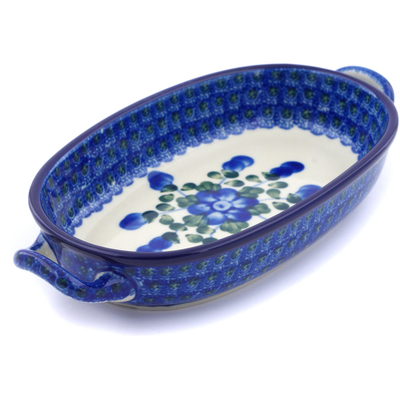 Polish Pottery Oval Baker with Handles 8-inch Blue Poppies