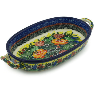 Polish Pottery Oval Baker with Handles 8-inch Copper Rose Meadow UNIKAT