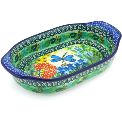 "Polish Pottery Oval Baker with Handles 8"" Garden Delight UNIKAT"