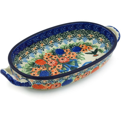 Polish Pottery Oval Baker with Handles 8-inch Hummingbird Bouquet UNIKAT