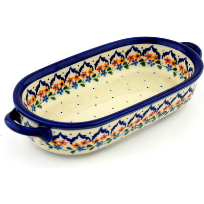 Polish Pottery Oval Baker with Handles 9""