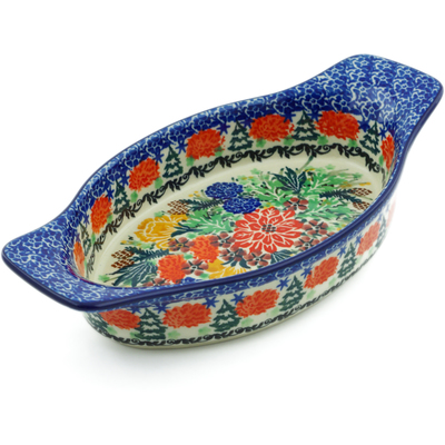 "Polish Pottery Oval Baker with Handles 9"" Hidden Pines UNIKAT"