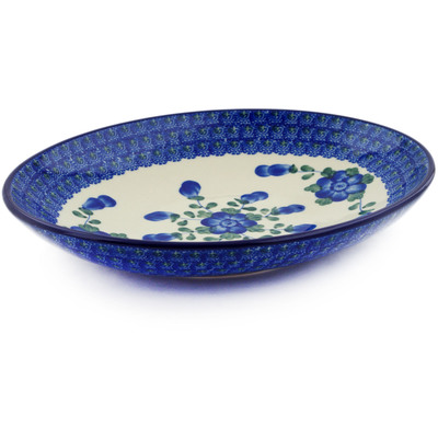 "Polish Pottery Oval Bowl 10"" Blue Poppies"