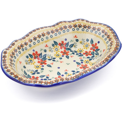 "Polish Pottery Oval Bowl 11"" Red Anemone Meadow"