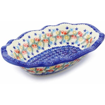 "Polish Pottery Oval Bowl 11"" Wreath Of Bealls"